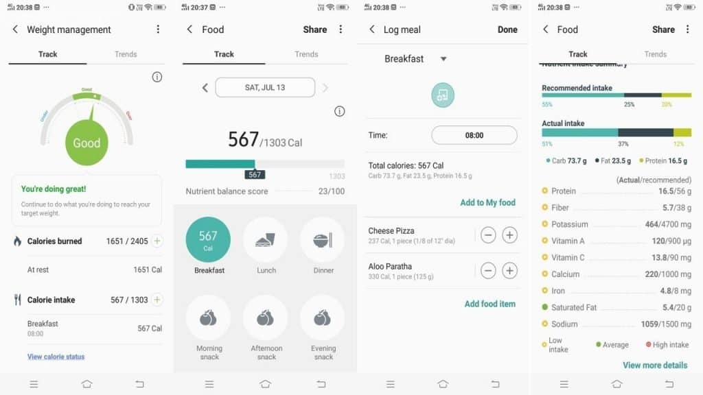 samsung health app food