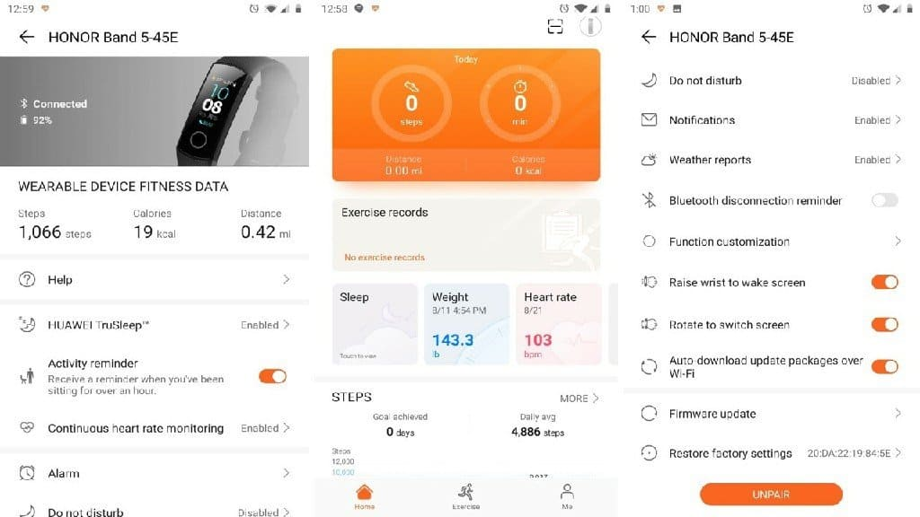 honor fitness band app