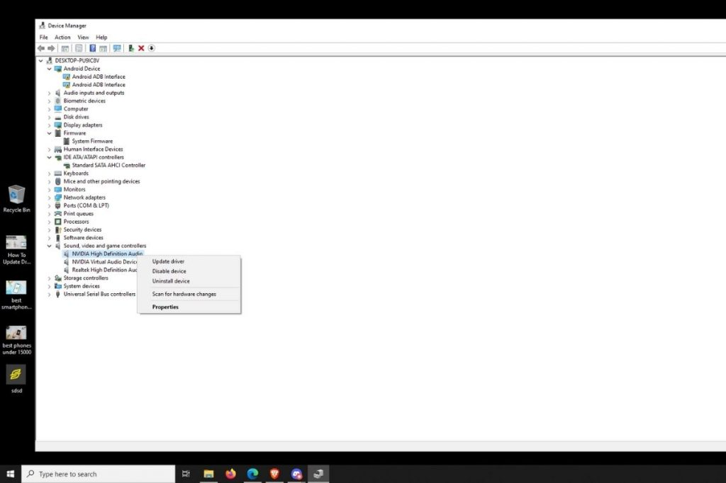 Device Manager drivers update windows 10